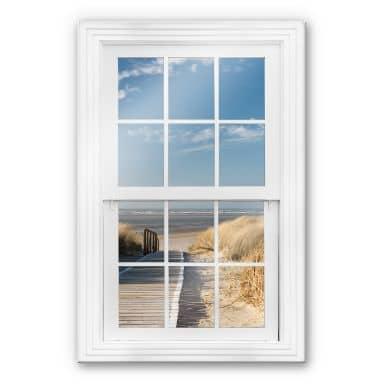 Trompe L'oeil Glass Print - To the Beach