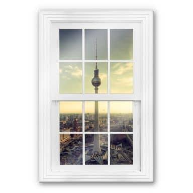 Trompe L'oeil Glass Print - Berlin TV Tower