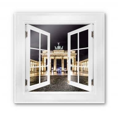 Glasbild 3D Fenster quadratisch - Brandenburger Tor - 50x50 cm