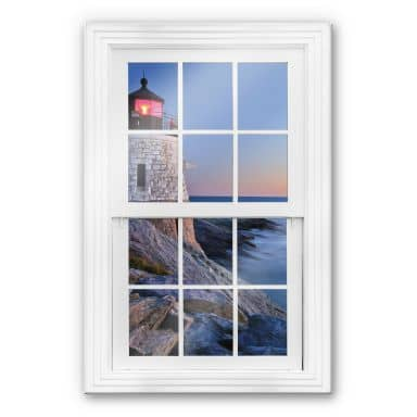 Trompe L'oeil Glass Print - Lighthouse