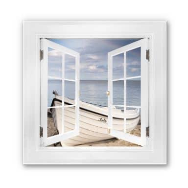 Trompe L'oeil Glass Print - Tiny Boat on the Beach