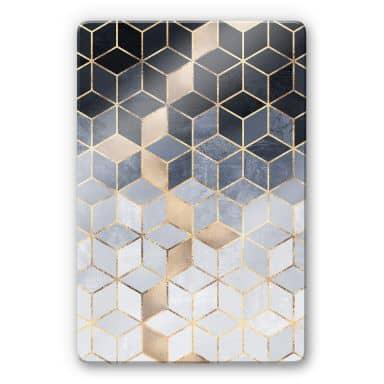 Glasbild Fredriksson - Blaue Geometrie