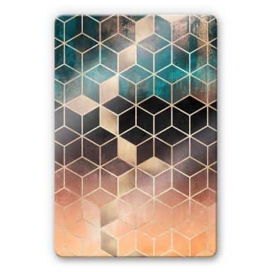 Glasschilderij Fredriksson - Gold Green Geometry