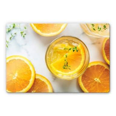 Glasbild Frische Orange