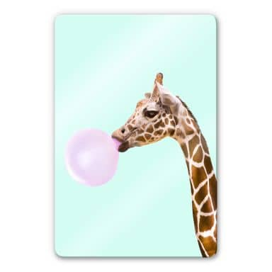 Glass Print Fuentes - Giraffe with Chewing Gum