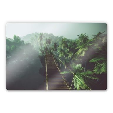 Glasbild - Hängebrücke im Dschungel