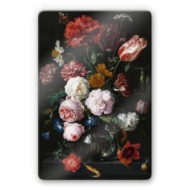 Glasbild Heem - Stillleben mit Blumen in einer Glasvase
