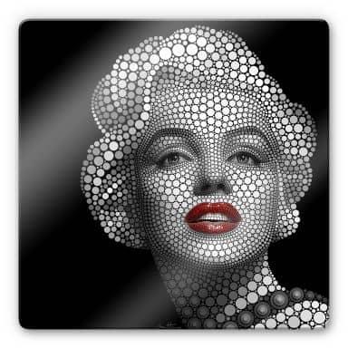 Glasschilderij Ben Heine - Circlism: Marilyn Monro