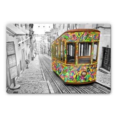 Glasbild Ben Heine - Tram in Lissabon