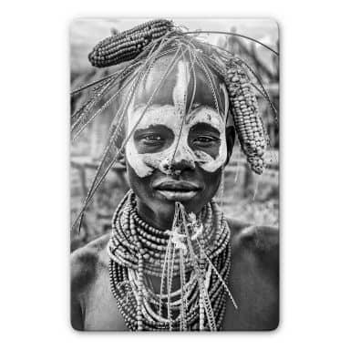 Glasbild Kuesta - Porträt eines äthiopischen Stammes