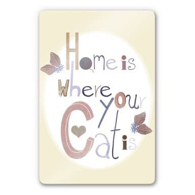 Glasbild Loske - Home is where your Cat is