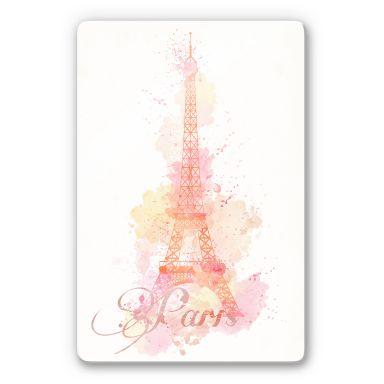 Glasbild La Tour Eiffel Aquarell