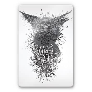 Tableau en verre - Miami Ink - Tête de mort avec des ailes