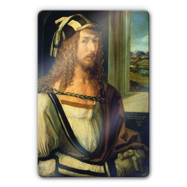 Glasbild Dürer - Selbstbildnis mit Landschaft