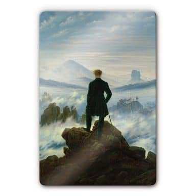 Friedrich - Wanderer in a sea of fog Glass art