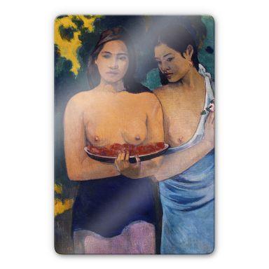 Glasbild Gauguin - Zwei Frauen von Tahiti