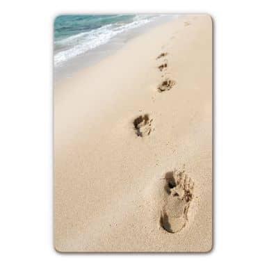Glasbild Fußspuren im Sand