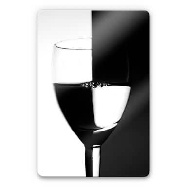 Glasbild Weinglas schwarz/weiss