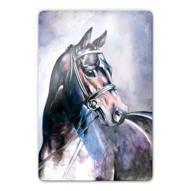 Glasbild Aquarell eines Pferdes