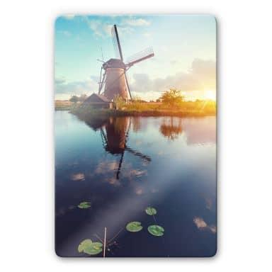 Glasbild Holländische Windmühle