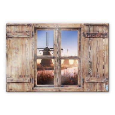Glasbild 3D Holzfenster - Pablo Kinderdijk 4