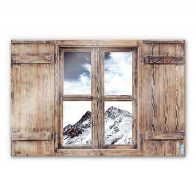 Trompe L'oeil Glass Print - Snow Mountain