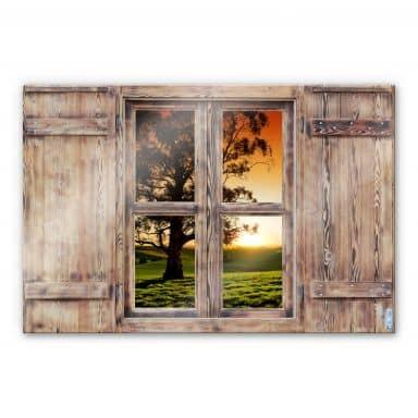 Glasbild 3D Holzfenster - Sonnenuntergang über den Hügeln