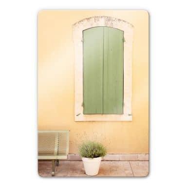 Glasbild Hugonnard - Grünes Holzfenster
