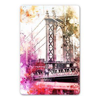 Glasbild Hugonnard - Watercolour: New York Bridge