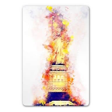 Glasbild Hugonnard - Watercolour: Statue of Liberty