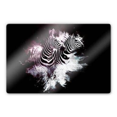 Glasbild Hugonnard - Wild Explosion: Zwei Zebras