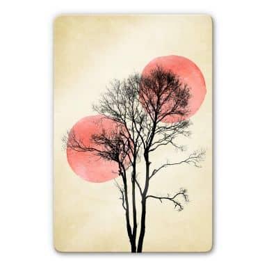 Glasbild Kubistika - Sonne und Mond hinter dem Baum
