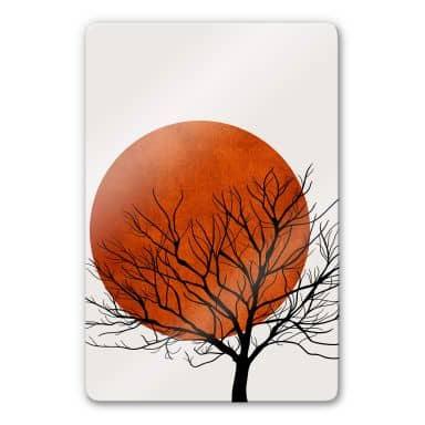 Glasbild Kubistika - Warmer Sonnenuntergang