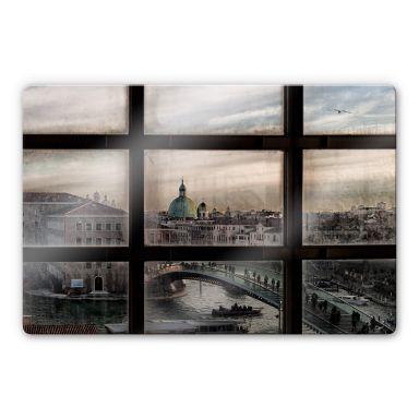 Glasbild Marini - Fenster in Venedig