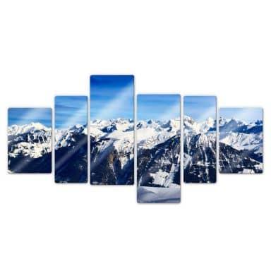 Glasbild Alpenpanorama (6-teilig)