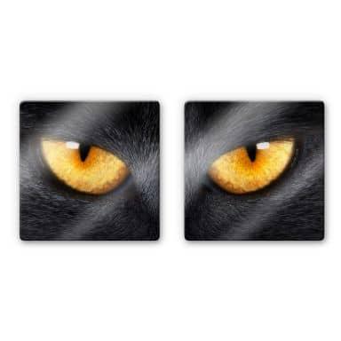 Tableau en verre - Yeux de chat (2 parties)