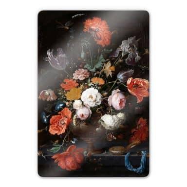 Glasbild Mignon - Stillleben mit Blumen und einer Uhr