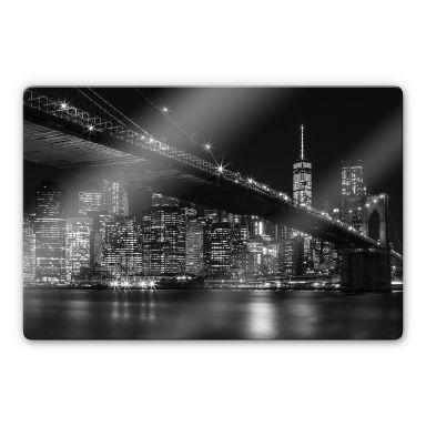 Glasbild New York bei Nacht