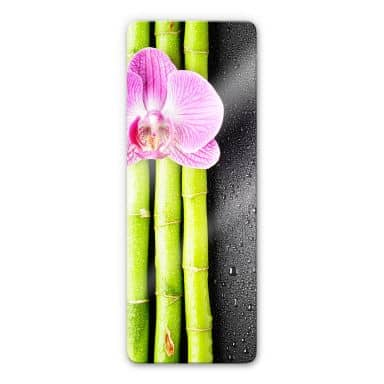 Glasbild Orchid and Bamboo - Panorama (vertikal)