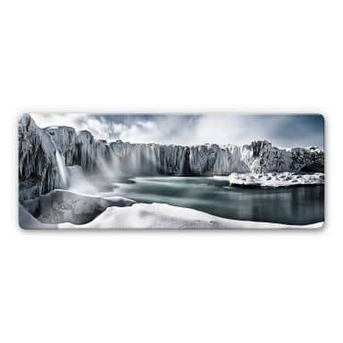 Glasbild Shcherbina - Islands Wasserfälle - Panorama