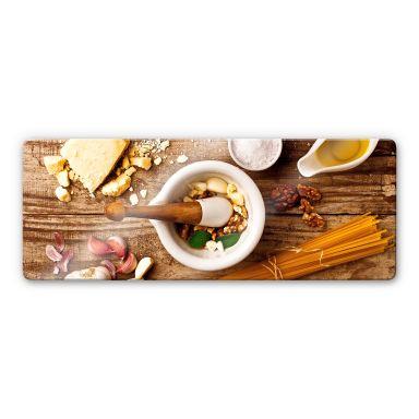 Glasbild Laercio - Pesto Rezept - Panorama