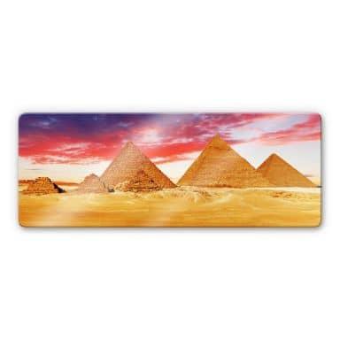 Glasbild Die Pyramiden von Gizeh - Panorama