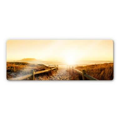 Sunset at the Beach Glass art - Panorama