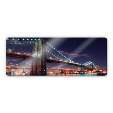 Manhattan Bridge at Night 2 Glass art - Panorama