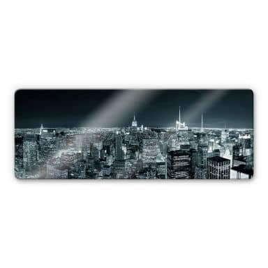 Glasbild New York at night 2 - Panorama