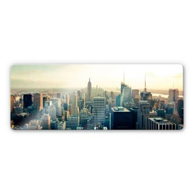 Glasbild Skyline von New York City - Panorama