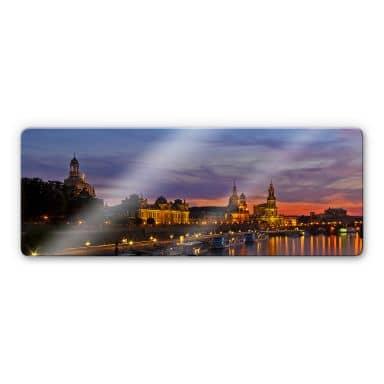 Glasbild Dresden im Nachtlicht - Panorama