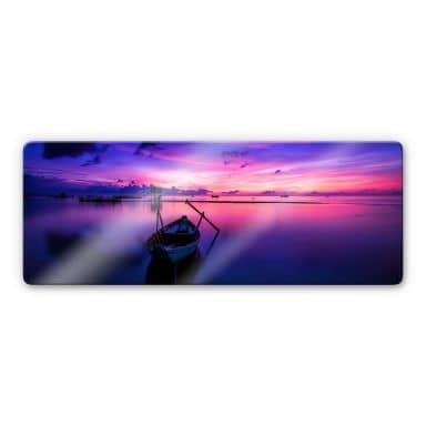 Glasbild Pink Sunrise - Panorama