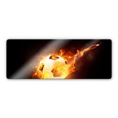 Glasbild Fußball in Flammen - Panorama