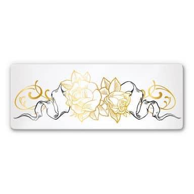 Glasbild LA Ink Golden Roses